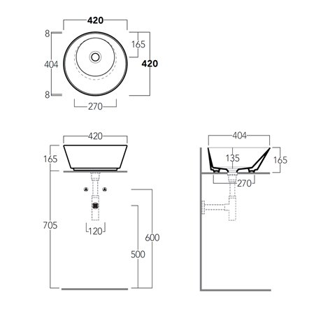 lavabo bagno misure ridotte WA01 Wave Simas