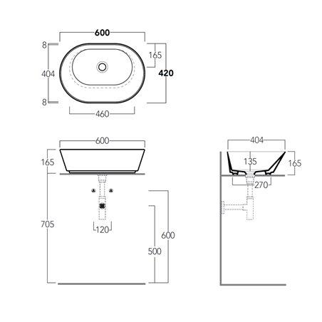 ciotola lavabo appoggio WA02 Wave Ceramica Simas