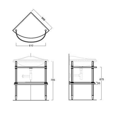 disegno della struttura in metallo 1011 per lavabo angolare Arcade Simas