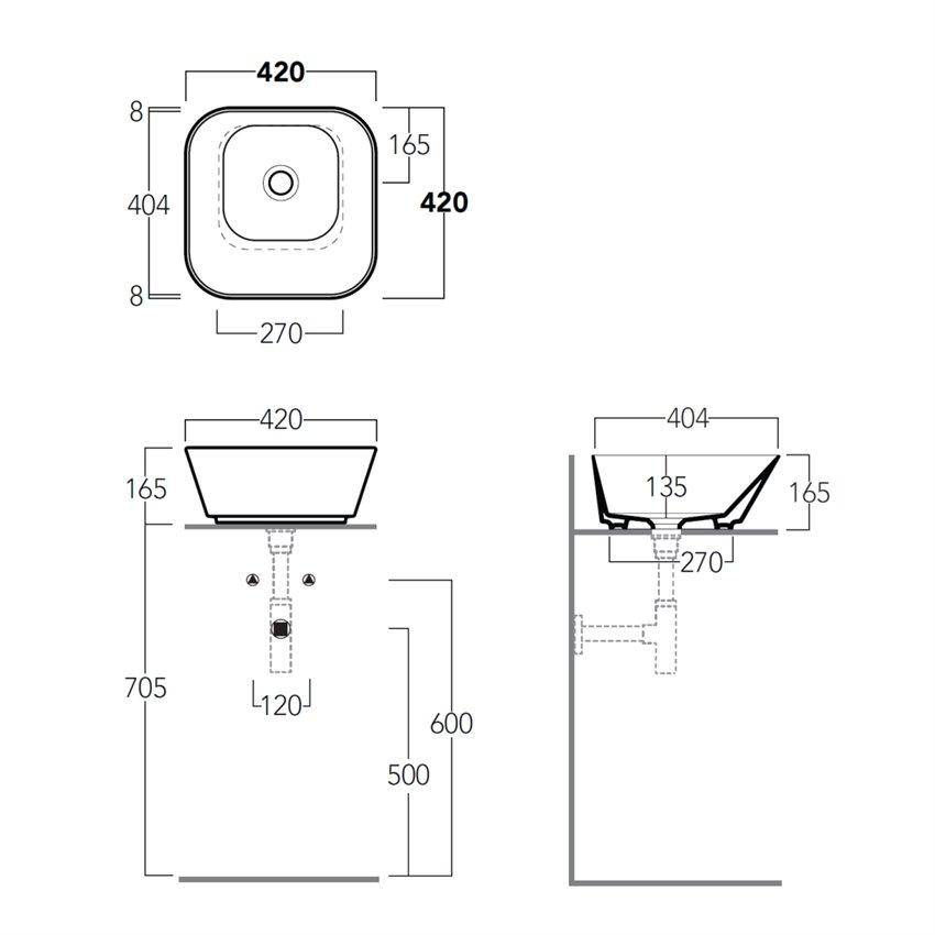 lavabo quadrato da appoggio WA03 Wave Simas Ceramica