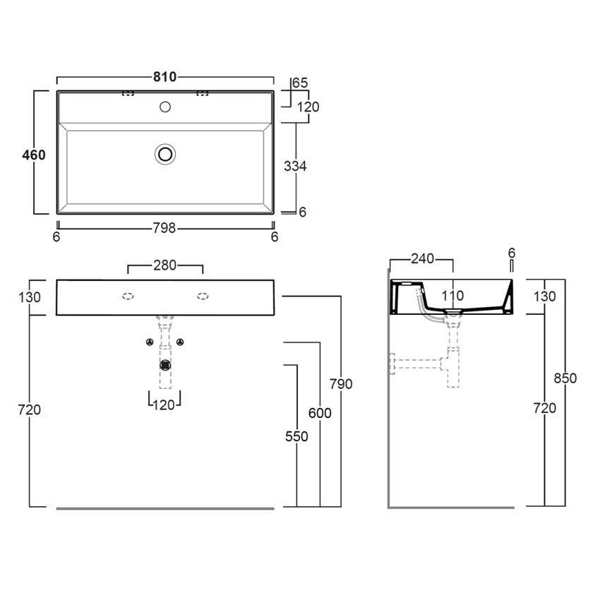 lavabo sospesi bagno AG81 Agile Simas