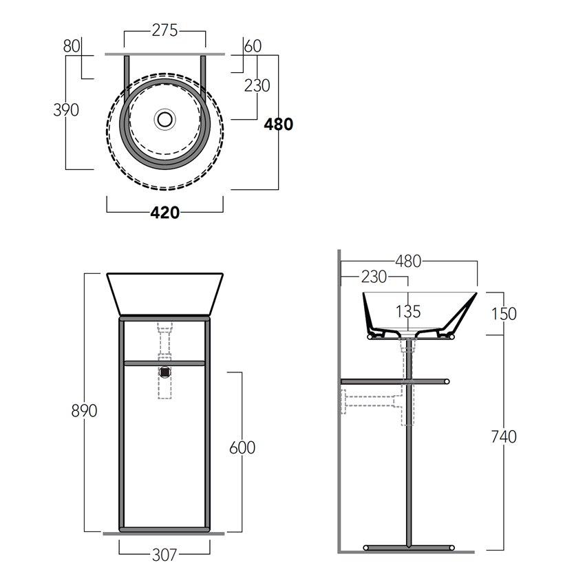 lavabo bacinella con struttura d'appoggio WASA01 Simas