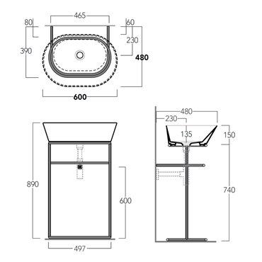 lavabo bacinella con struttura di sostegno WASA02 Simas