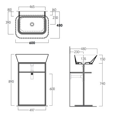 lavabo con struttura in metallo WASA04+WA04 Simas Ceramica