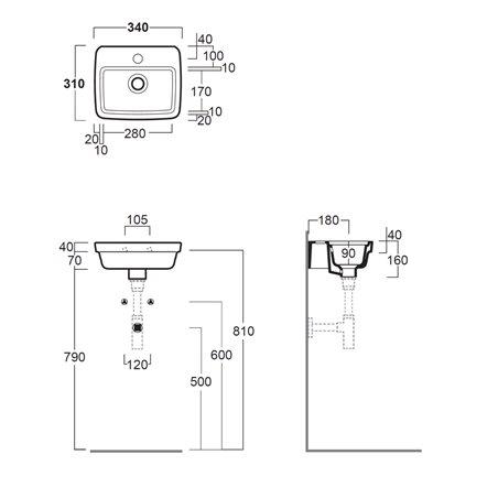 lavabo bagno piccole dimensioni EVO14 Evolution Simas