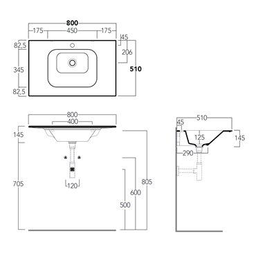 consolle lavabo bagno WA80 Wave Simas Ceramica