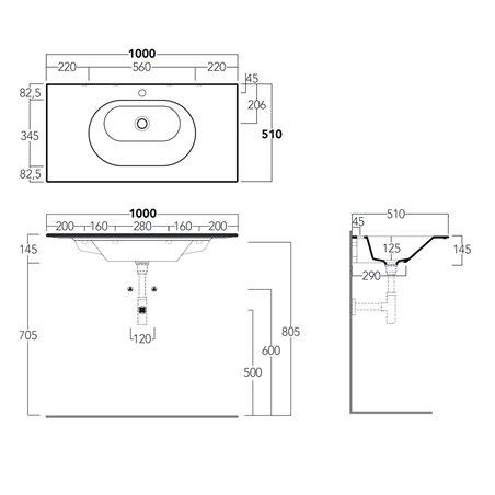 consolle bagno moderno WA100 Simas
