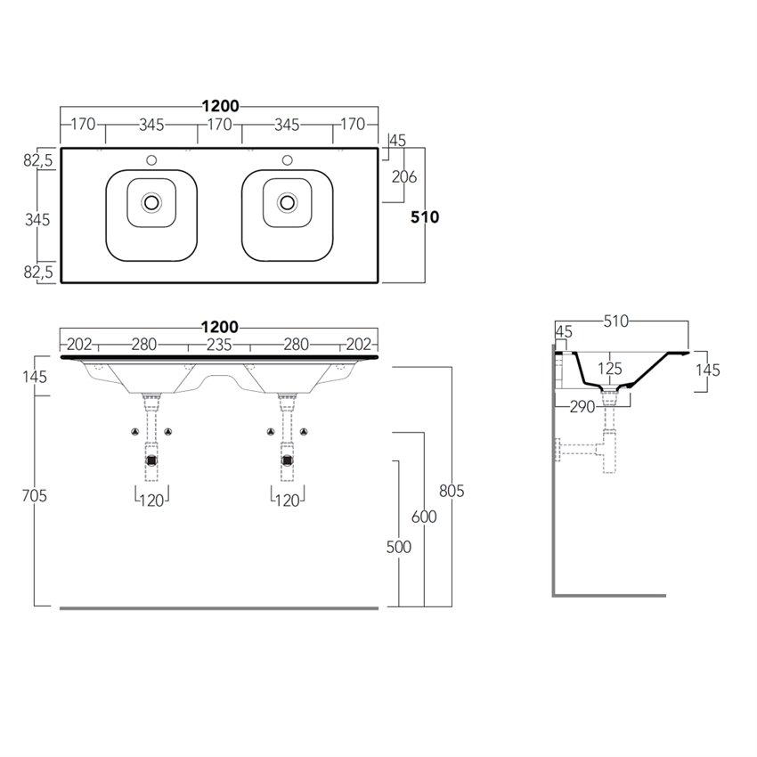 lavabo bagno a due vasche WA120 Wave Simas