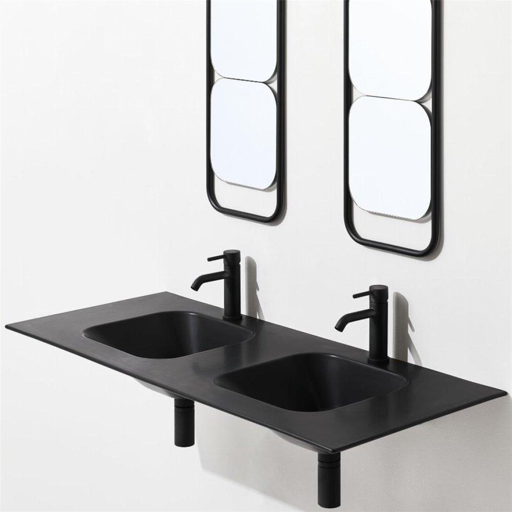 Doppio lavello bagno WA120 nero matt Simas