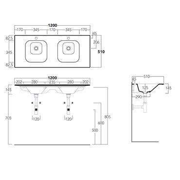 doppio lavabo 120 cm WA120 nero matt Simas