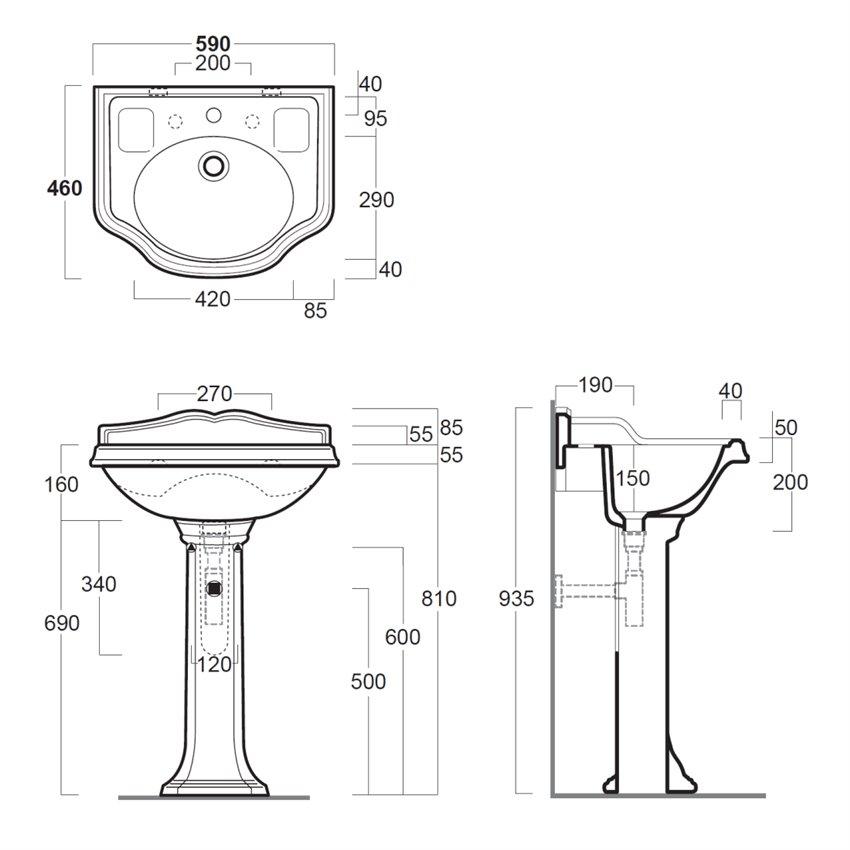 lavabo classico con colonna Arcade AR814+AR815 Simas