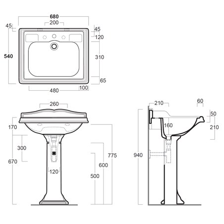 lavabo bagno a colonna Arcade AR824 con AR805 Simas