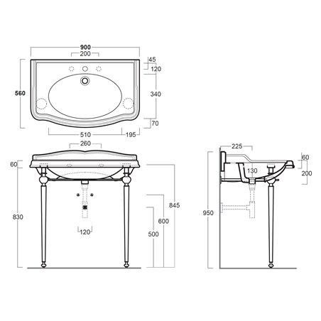 lavabo con gambe AR864+ARCG1 Simas