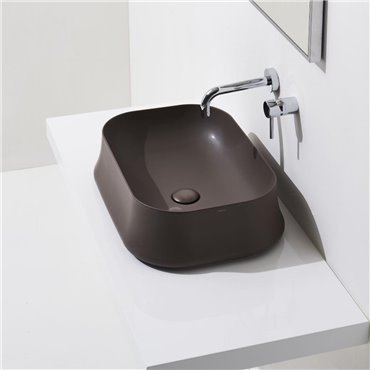 Sharp SH08 mokkafarbenes Waschbecken in mattem Farbton Simas Ceramica