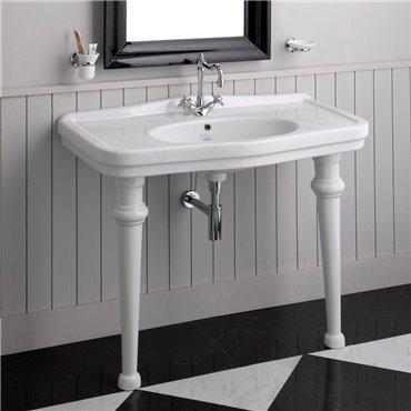 Lavabo con gambe in ceramica consolle da bagno retro Londra Simas