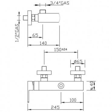 Mezclador externo para columna de ducha Sophie 3626 Gaboli Flli
