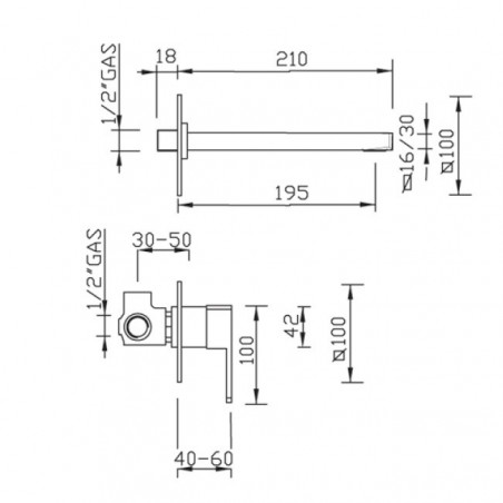 wall tap for washbasin Gaboli Flli rubinetteria