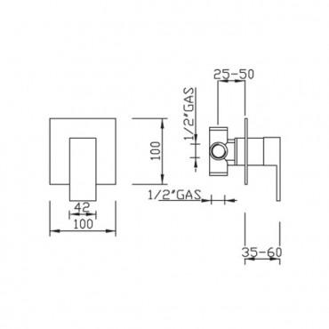 Miscelatore per doccia incasso Open Space 3415