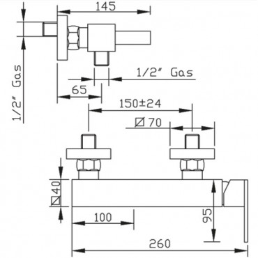 Miscelatore esterno per doccia Klip 2825 Flli Gaboli Rubinetteria