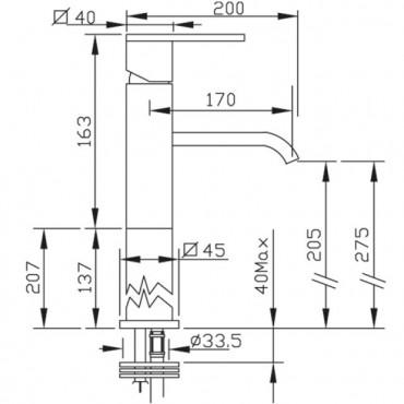 miscelatore per lavabo appoggio Klip 2803 Gaboli Fratelli rubinetteria