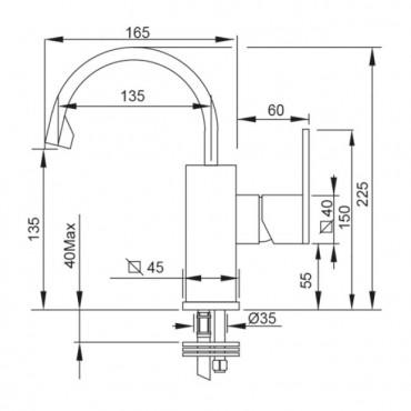 Miscelatore per bidet senza scarico Klip 2856