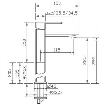 miscelatori lavabo alti h2q Gaboli Flli rubinetteria