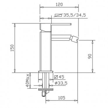 Miscelatore per bidet senza scarico H2q 3906