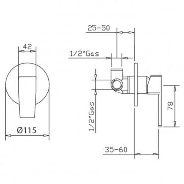 Miscelatore per doccia incasso moderno H2q 3916 Gaboli Flli