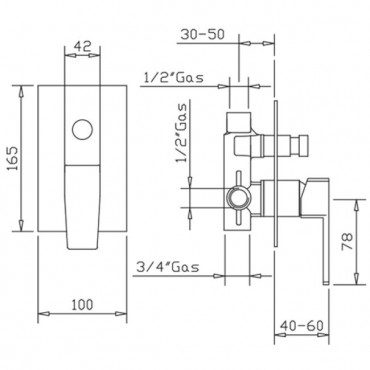 Built-in shower mixer with diverter H2Q 3930 Flli Gaboli Rubinetteria