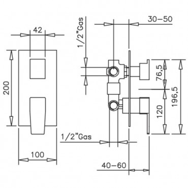 technical sheet built-in shower mixer Gaboli Flli Rubinetteria