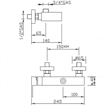 Miscelatore per doccia esterno Open Space 3426