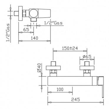Miscelatore doccia esterno H2Q 3925 Flli Gaboli Rubinetteria