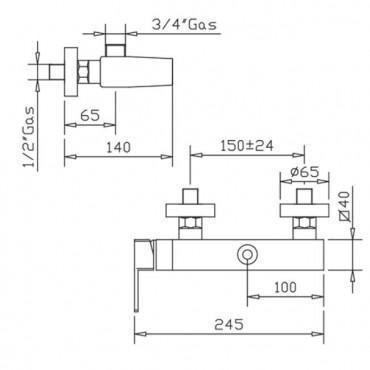 Mitigeur de douche externe pour colonne H2Q 3926 Gaboli Flli