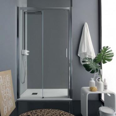 Cabine de douche en niche avec porte battante