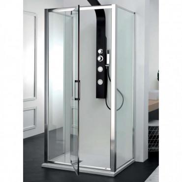 Cabine de douche centrale avec porte battante