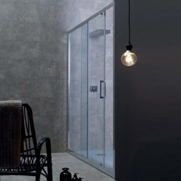 Cabine de douche d'angle à portes coulissantes