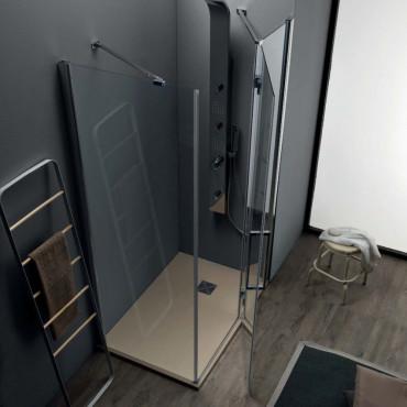 Cabine de douche en niche à portes coulissantes