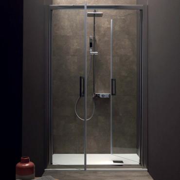 Cabine de douche d'angle avec porte carré