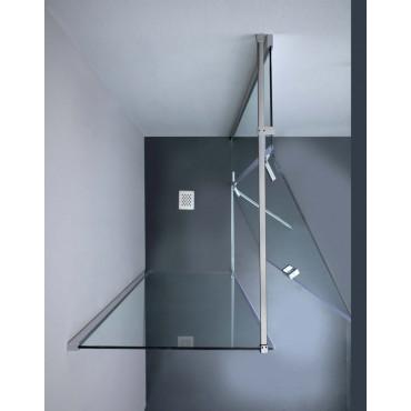 cabina de ducha con puerta batiente y lateral fijo