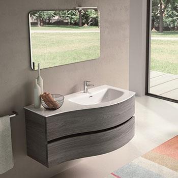 mobili bagno moderno sospeso curvo